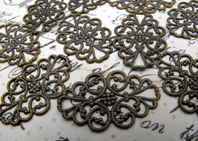 20 Pieces of Antique Brass Filigree Findings