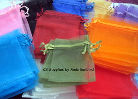 30 7x9 Multi~Colored Organza Gift Bags