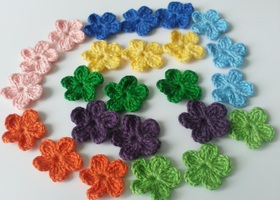 Set of 24 Mini Assorted Crochet Flowers.