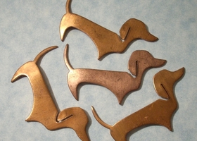 Vintage Copper Dog Stampings 4pcs