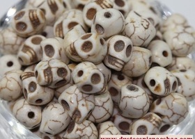 50 White Turquoise Carved Skull Loose Beads