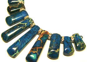 Ocean Blue Variscite Gemstone Pendant Beads Set