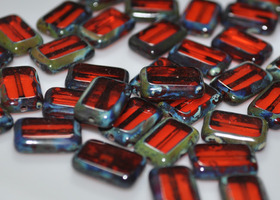 Czech 8x12mm Table Cut Rectangle Beads Hyacinth Picasso