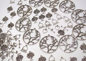 60 Tree of life charms Bird Cages Trees Heart Toggles