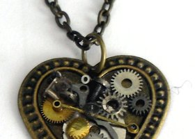 steampunk bronze Heart Necklace