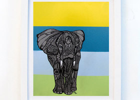 Elephant Zentangle Art Print , 8.5x 11in