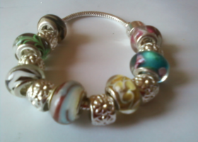 Two Silver Beautiful Murano European Bead Bracelets