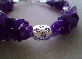 Real Amethyst multi strand bracelet with metal flower beads