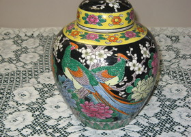 Vintage Large Hand Painted Jar Flowers Japan