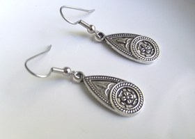 Etched Teardrop Antique Silver Tone Fancy Earrings