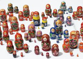 Lot 3 Sets of 5 Russian Nesting Wooden Dolls Matryoshka