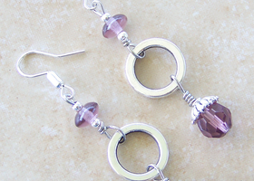 Open Circle Silver Earrings Vintage Purple Crystal Bead