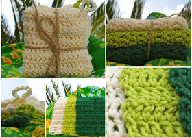 Hand Crochet Cotton Washcloths Lime Kelly & Cream
