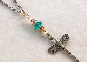 Dragonfly Pendant In Bronze