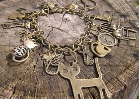 Cat Charm Bracelet 16 different aged brass cat charms