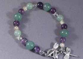 Amethyst Citrine Green Aventurine Lucky Money Dragonfly Bracelet
