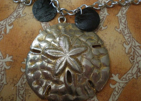 Silver & Gold Toned Sand Dollar Necklace