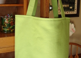 Diaper bag or tote, lime green, owls on blue