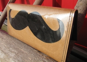 Vinyl Mustache or Moustache clutch or wallet