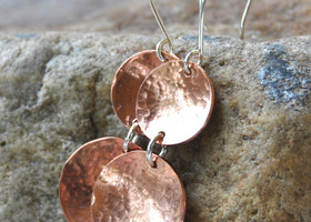 Double Copper Disc Earrings