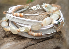 White Leather & Quartz Bracelet