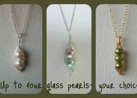18inch Silver Plated Wire Wrapped Pea Pod Pendant Necklace - Glass Pearls - up to FOUR beads your choice!