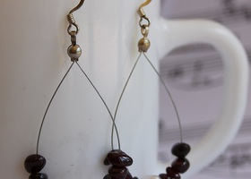 Genuine Garnet and Freshwater Pearl Earrings