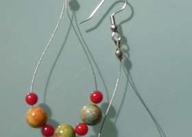 Genuine Jasper and Red Coral Earrings