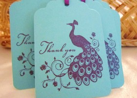 Pretty as a Peacock Thank You Gift Tags -Set of 18