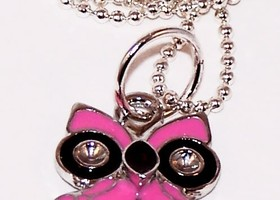 Pink Pretty Bird Enamel Owl Pendant Necklace