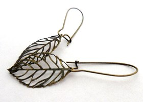Brass Filigree Leaf Earrings - BONUS OFFER - CUSTOMIZABLE