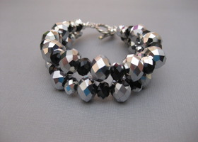 Two Strand Silver and Black Glass Bracelet Handmade