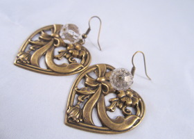 Art Nouveau Heart Earrings with Crystals