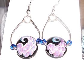 Handmade hoop and lampwork earrings