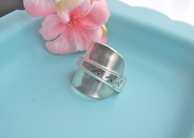 Spoon ring, size 6, 7, OR 8, hand stamped, three birds