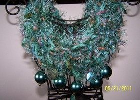 Teal Handknitted Necklace with Beads