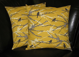 "Grey & Vintage Yellow 18"" Sparrows Decorative Pillow Covers"