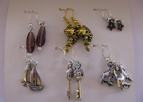 Set of 6 Charm Earrings - Nice Variety!