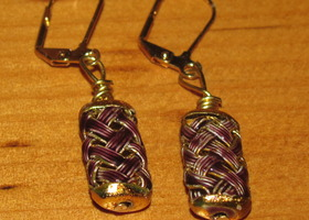 Purple and Gold Woven Metal Dangle Earring