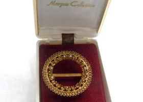 "Vintage Brooch ""Austria""Crystal Signed,Goldtone,1 1/2""."