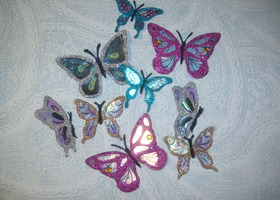 24 Beautiful Assorted Sparkly Butterflies - Handcrafted