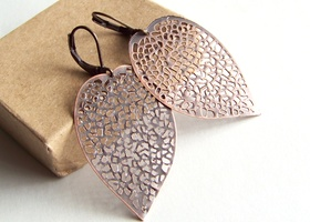 Rose Copper Leaf Skeleton earrings
