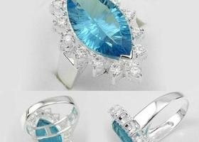 sz 7 Sterling Silver Blue Topaz Ring