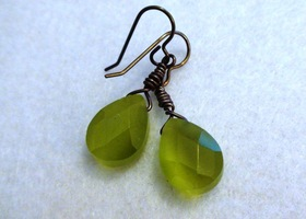 Green Glass Briolette Earrings-- Natural Pure Brass