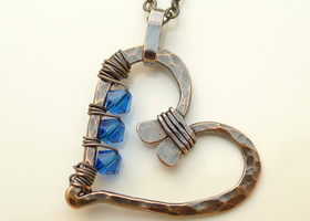 Oxidized Copper Heart and Capri Blue Swarovski Crystal Necklace