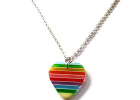 Rainbow Heart Necklace, Resin Pendant