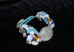 Labradorite Chunky Multi Strand Bracelet in Blues with Natural Stones and glass beads