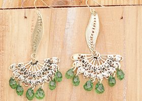 Asian style fan earrings with green swarovski crystals