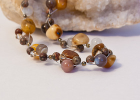 Golden Jade, Botswanna agate, Leopardskin Jasper necklace