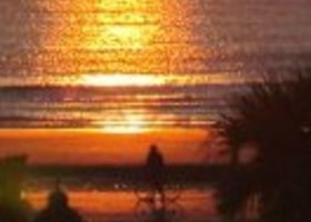 """A New Day ~Sunrise Cyclist"" 8X10 Fine Art Photo Metallic Paper"